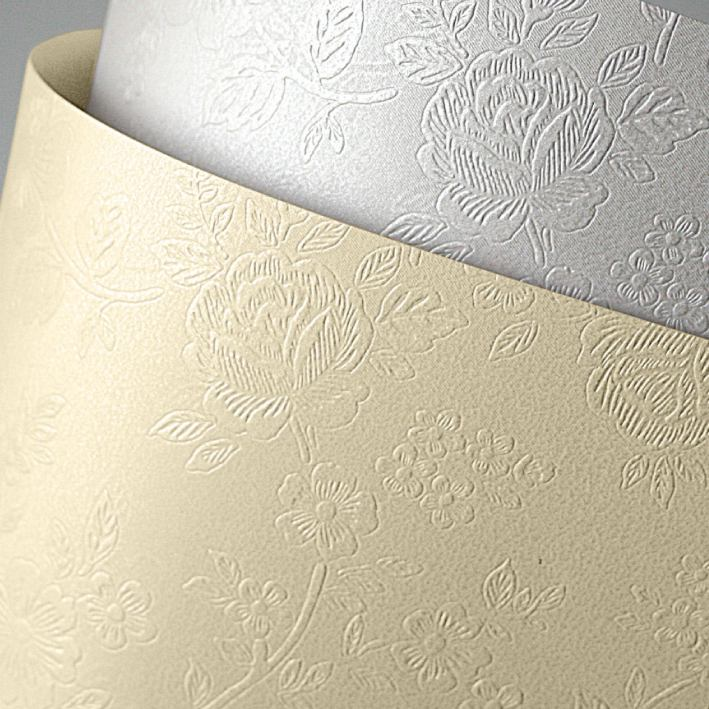 Galeria Papieru ozdobný papír Floral bílá 220g, 20ks