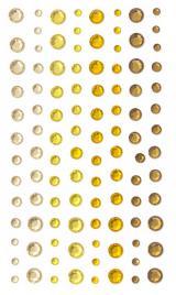 Samolepicí kamínky žlutá 3//4/5/6mm, 104ks
